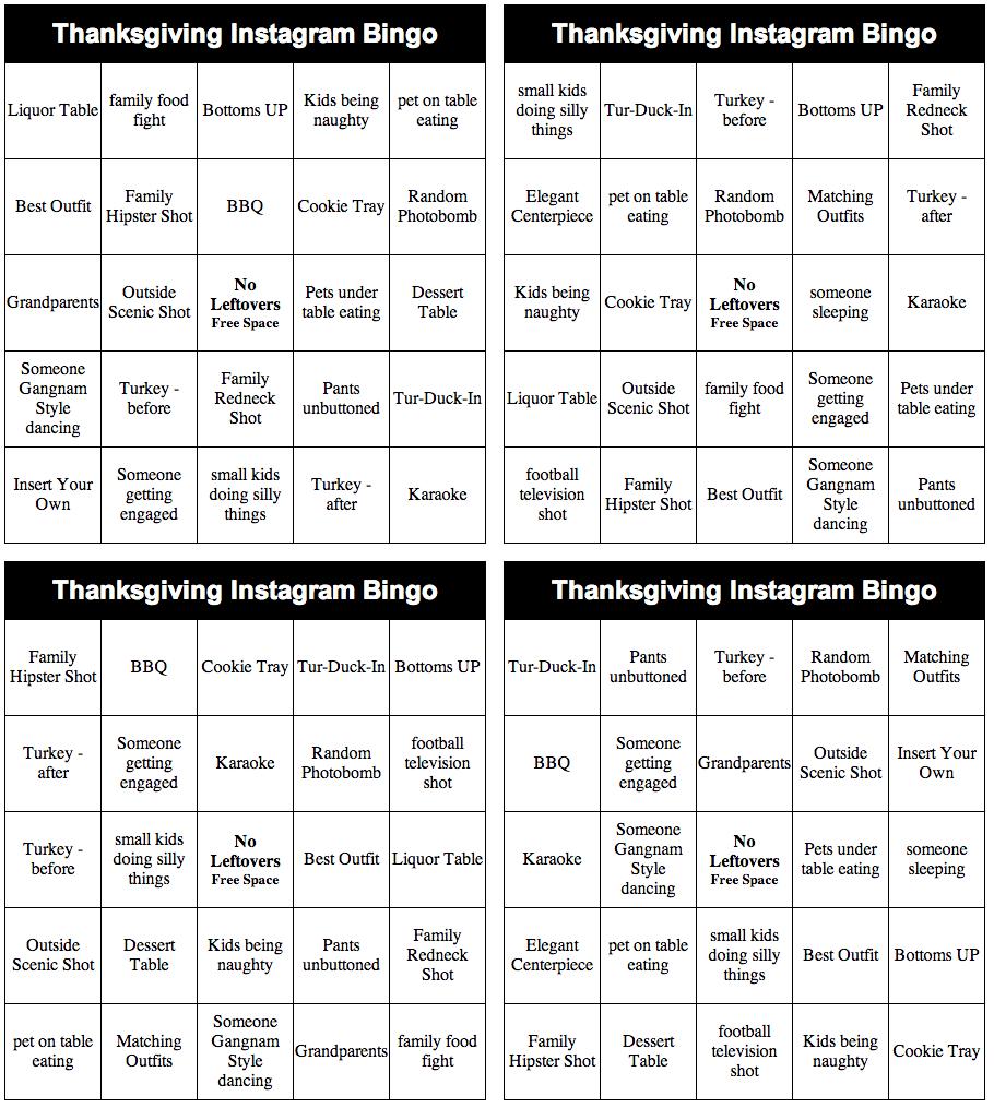 Thanksgiving Instagram Bingo Lynette Radio